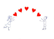 Illustration of girl and boy pulling his hands to red hearts Royalty Free Stock Image
