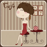 Illustration of a girl in a cafe. Vintage style. Royalty Free Stock Photography
