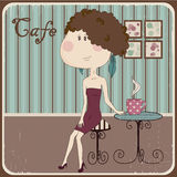 Illustration of a girl in a cafe. Vintage style. Stock Photos