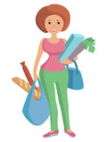 Illustration of a girl carrying bags groceries Stock Images