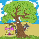 Illustration of a girl and cat under tree Stock Photo