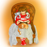Illustration of a girl and cats. Girl reading a book. Royalty Free Stock Photo