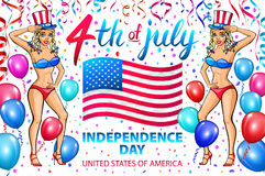 Illustration of a girl celebrating Independence Day Vector Poster. 4th of July Lettering. American Red Flag on Blue Background. ba. Llon. confetti. art Stock Photo