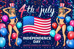Illustration of a girl celebrating Independence Day Vector Poster. 4th of July Lettering. American Red Flag on Blue Background. ba. Llon. confetti. art Stock Image