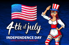 Illustration of a girl celebrating Independence Day Vector Poster. 4th of July Lettering. American Red Flag on Blue Background wit Royalty Free Stock Photos