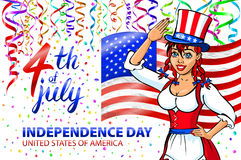 Illustration of a girl celebrating Independence Day Vector Poster. 4th of July Lettering. American Red Flag on Blue Background wit Royalty Free Stock Images