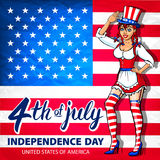 Illustration of a girl celebrating Independence Day Vector Poster. 4th of July Lettering. American Red Flag on Blue Background wit Stock Photos