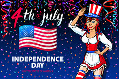 Illustration of a girl celebrating Independence Day Vector Poster. 4th of July Lettering. American Red Flag on Blue Background wit Royalty Free Stock Image