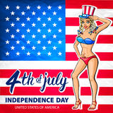 Illustration of a girl celebrating Independence Day Vector Poster. 4th of July Lettering. American Red Flag on Blue Background wit. H Stars art Royalty Free Stock Images