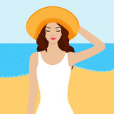 Illustration of girl with closed eyes on the beach Stock Images