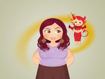 Girl with devil unconscious. Illustration of girl with devil unconscious royalty free illustration