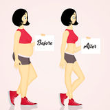 Girl before and after diet Royalty Free Stock Images