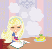 Illustration of girl doing homework Royalty Free Stock Photo