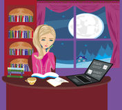 Illustration of girl doing homework Stock Photo