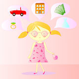 Illustration of a girl with dreams Stock Photo