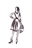 Illustration of a girl in a dress with a bag. On a white background Stock Images