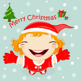 Illustration of a Girl Dressed in a Santa Claus Costume Leaping Stock Photography