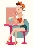 Illustration of girl eating ice cream. Vector illustration of a girl eating ice-cream in cafe Stock Images