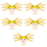 Illustration of girl emotions Stock Images