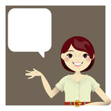 An illustration of a girl with empty hand to show off a product or introduce something Royalty Free Stock Photos