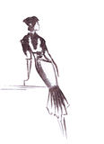 Illustration girl in fashion dress leaning on the surface Royalty Free Stock Images