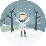 Illustration of a girl and the first snow in the circle.  Stock Photo
