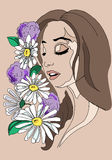 Illustration of a girl with flowers in her hair, hand drawing. Royalty Free Stock Images