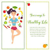 Illustration of the girl and fresh fruits and vegetables. Healthy way of life banner. Illustration of the fit girl and fresh fruits and vegetables. Healthy way Stock Illustration