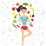 Illustration of the girl and fruits, vegetables. Healthy lifestyle banner, background, poster. Illustration of the girl and fresh fruits, vegetables. Healthy Royalty Free Stock Photos