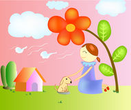 Illustration of a girl In the garden. Stock Photography