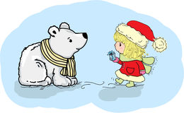 Illustration - girl giving a gift to Polar Bear Stock Images