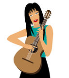 Illustration of girl with guitar Royalty Free Stock Image