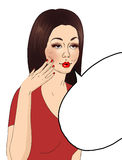 Illustration of a girl having a conversation - makeup Royalty Free Stock Photography