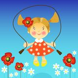 Illustration of a Girl  jump in flowers Stock Photos