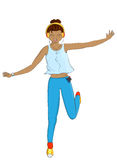 Illustration of a girl jumping in the puddle isolated Royalty Free Stock Photo
