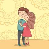 Illustration of girl kissing boy on the cheek Stock Image
