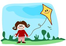 Illustration: girl with kite Royalty Free Stock Images