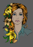 Illustration girl with lilies, cards. Hand drawn Royalty Free Stock Photography