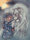 Illustration of a girl and a lion royalty free illustration