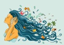 Illustration with girl listening seashell stock illustration