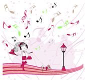 Illustration girl listening to music Stock Photos