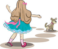 Illustration of girl and little dog Royalty Free Stock Images
