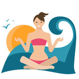 Illustration of a girl in lotus position, sitting on Royalty Free Stock Images