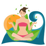 Illustration of a girl in lotus position, sitting on Stock Image