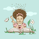 Illustration with girl lying on the grass and read Stock Images