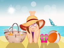 Girl lying on the sand at the beach. Illustration of girl lying on the sand at the beach vector illustration