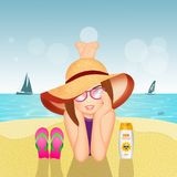 Girl lying on the sand at the beach. Illustration of girl lying on the sand at the beach royalty free illustration