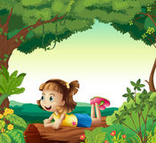 A girl lying on a wood. Illustration of a girl lying on a wood in a nature Royalty Free Stock Image