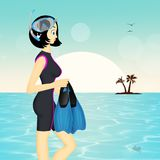 Girl makes snorkeling. Illustration of girl makes snorkeling Royalty Free Stock Photo