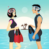 Girl and man with mask and fins. Illustration of girl and man with mask and fins Royalty Free Stock Images